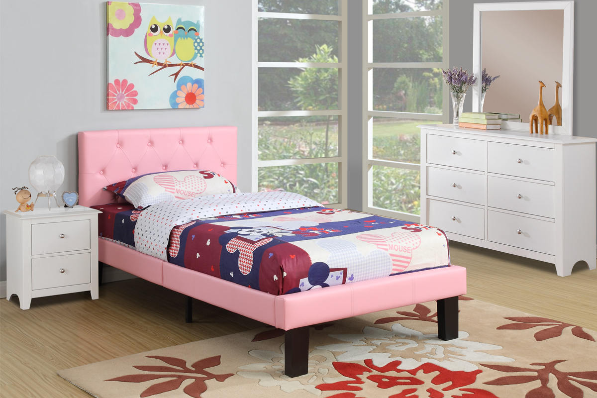 Twin Bed Black Pink White Direct Discount Furniture
