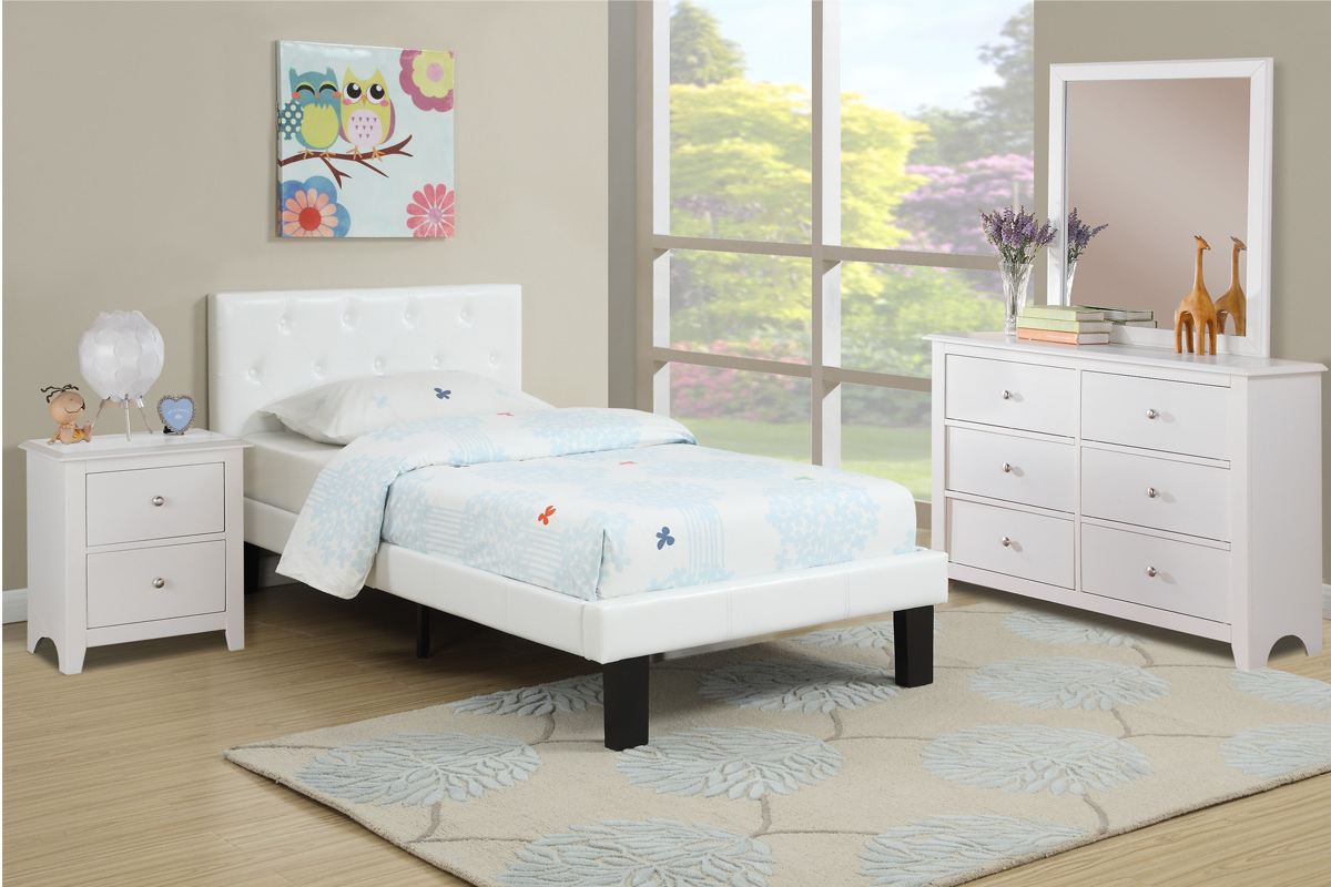 TWIN BED – Black, Pink, White – Direct Discount Furniture