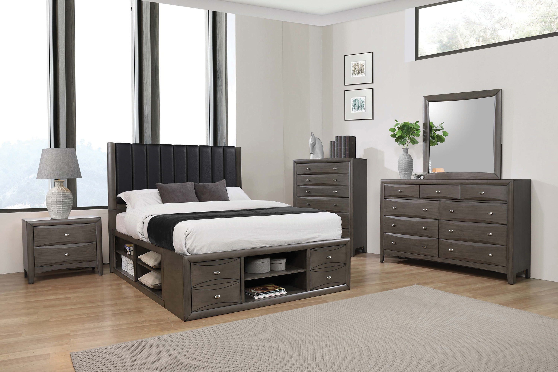 phoenix storage bedroom set coco grey  direct discount